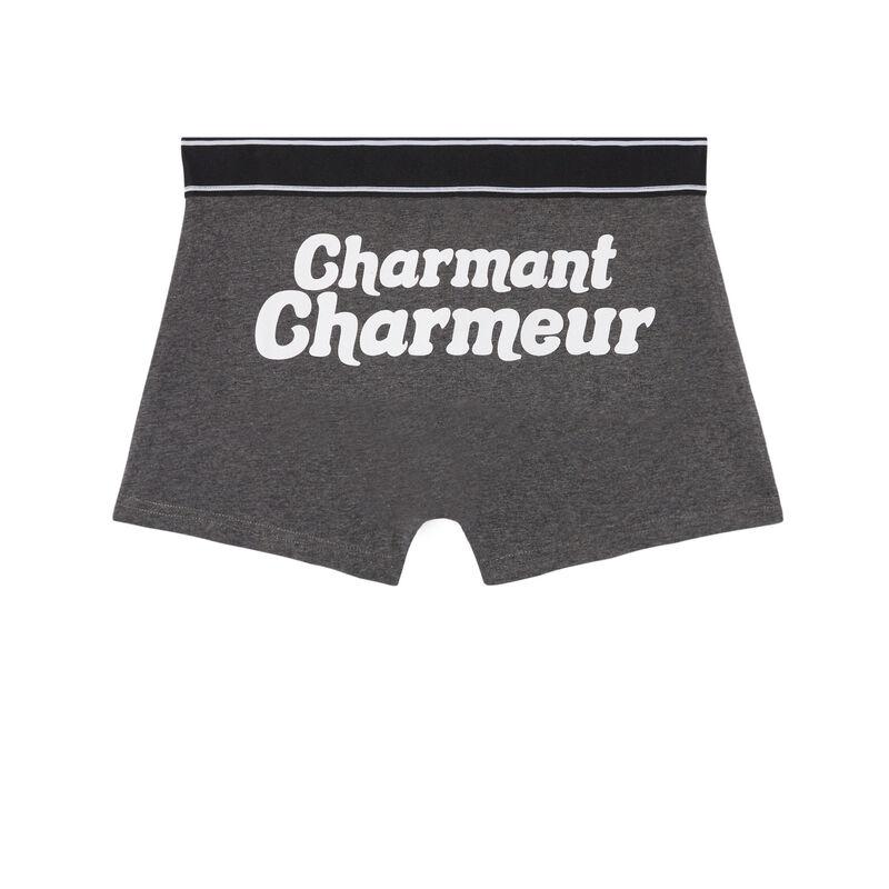 boxer à message charmant charmeur - gris;
