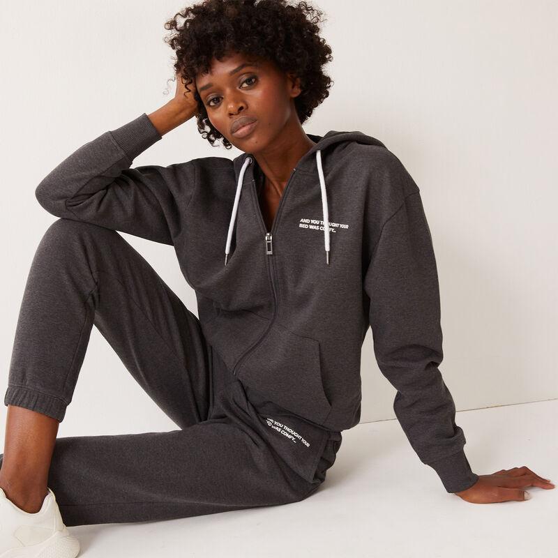 veste zippée à capuche à message - gris;