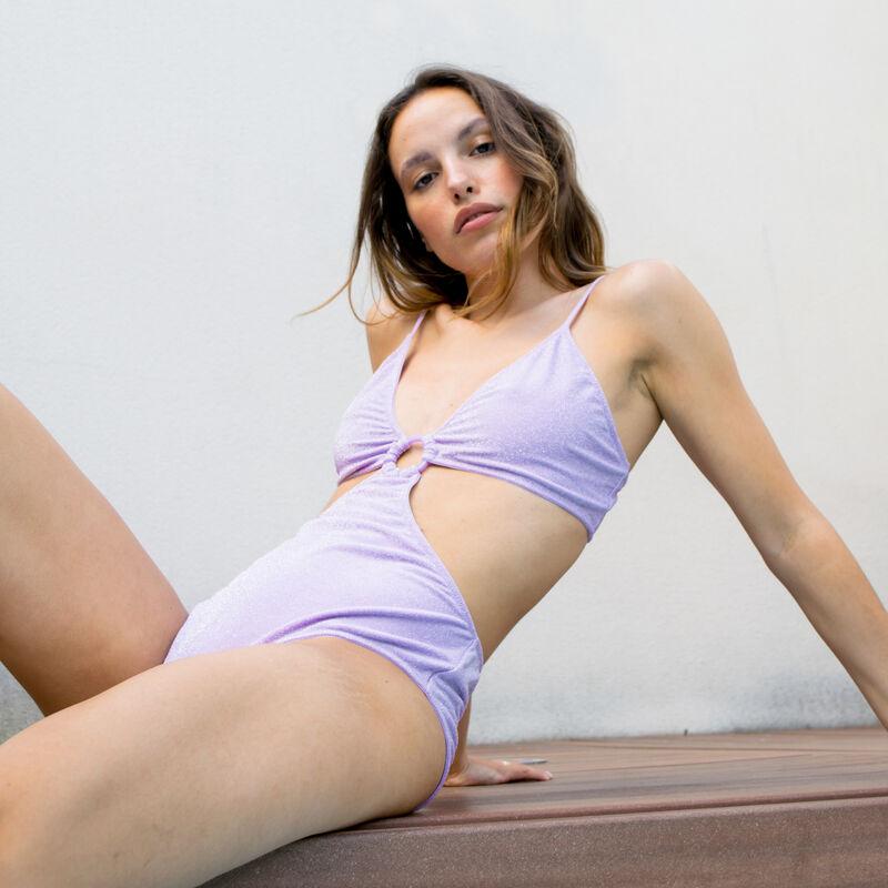 maillot 1 pièce trikini avec anneau - lilas;