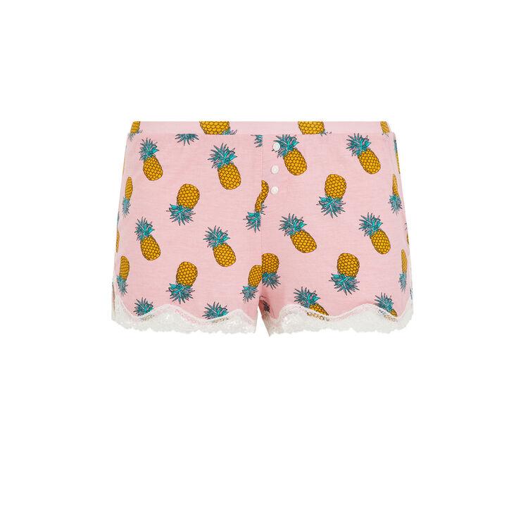Short en jersey print ananas yellonaniz rose pâle.