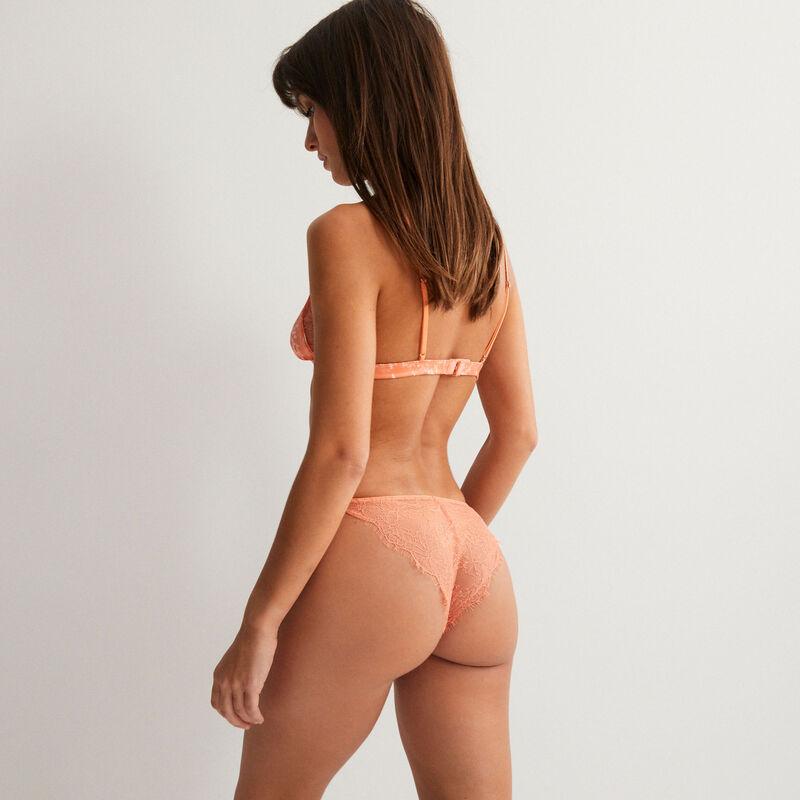 soutien-gorge triangle dentelle effet marbre et bijoux ananas - rose;