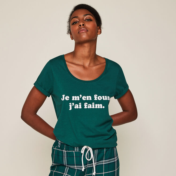 Top en jersey à message famoniz vert forêt.