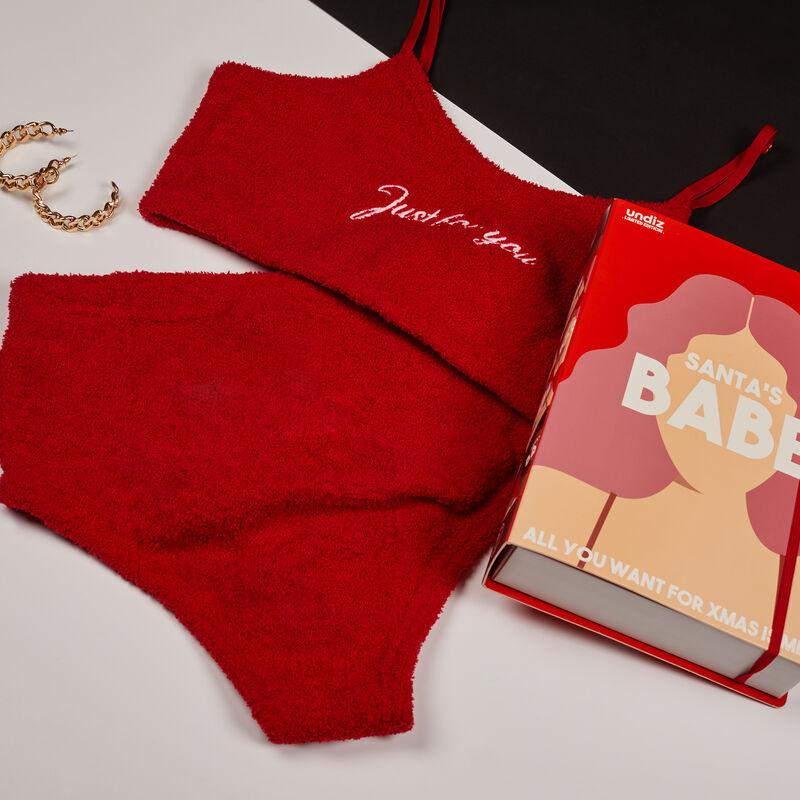 set brassière et culotte à message just for you - rouge ;