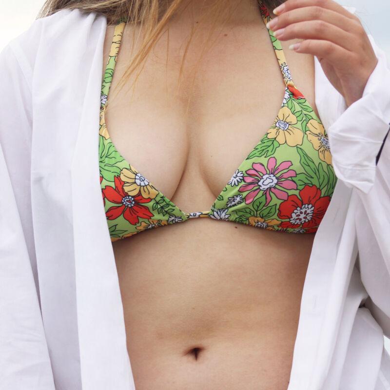 haut de maillot triangle fleuri double tour - vert;