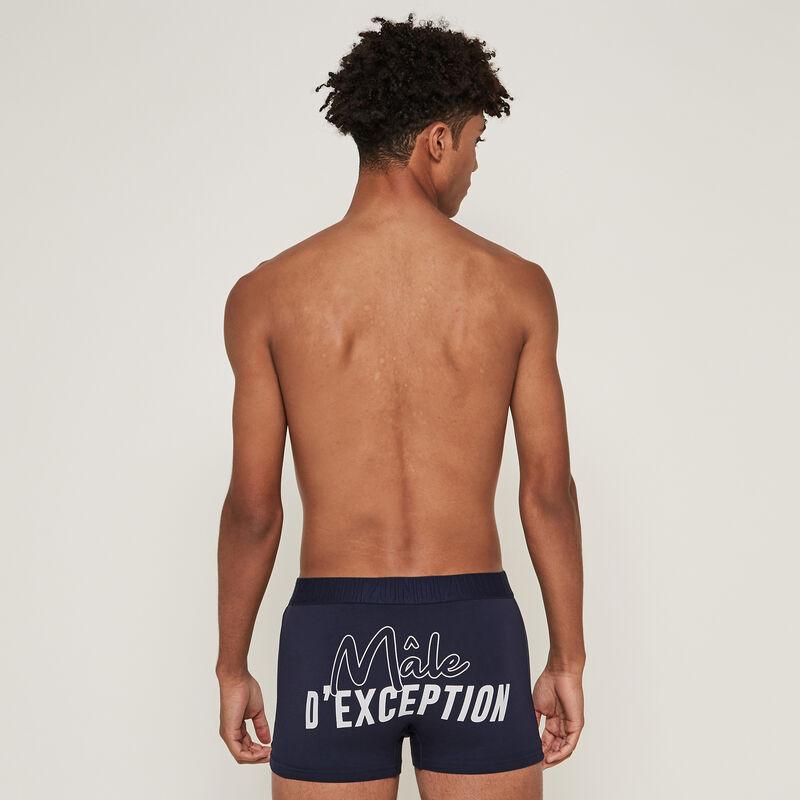 Boxer en coton à message - bleu foncé;