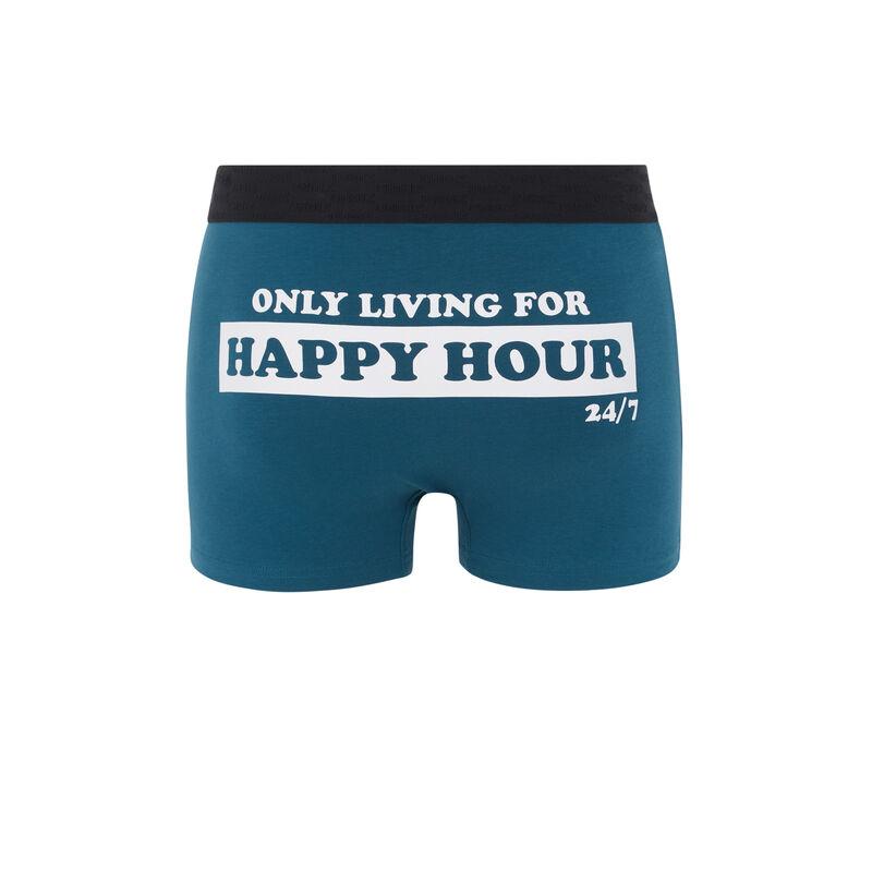 Boxer en coton à message - bleu canard;