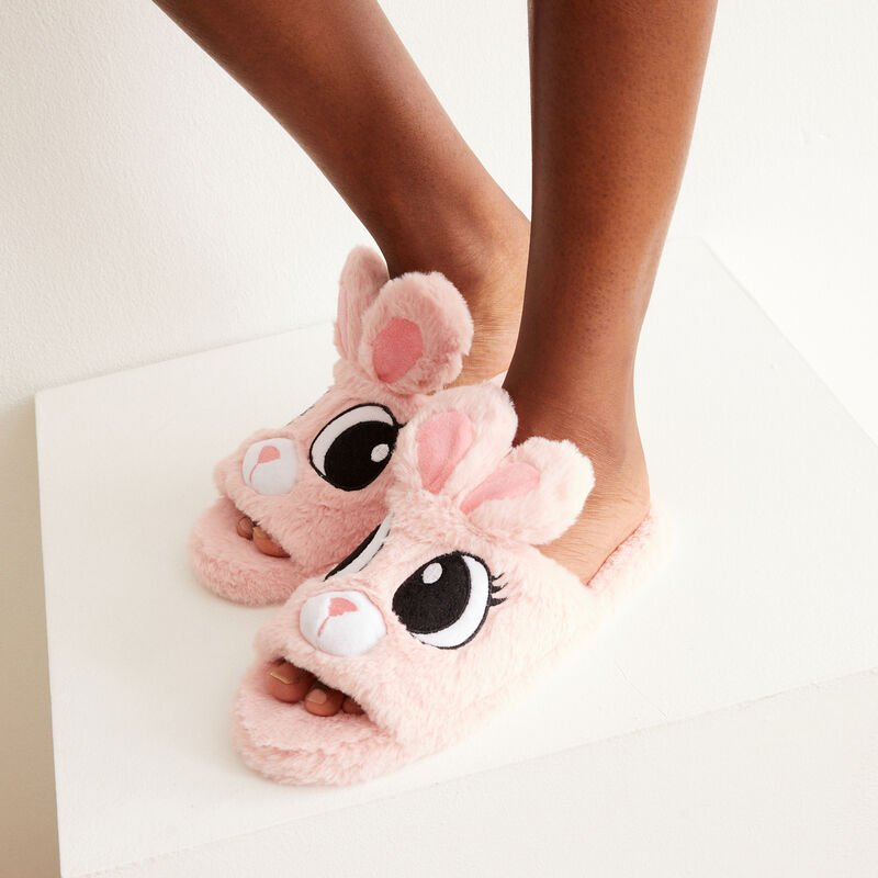 chaussons lapinou - rose;