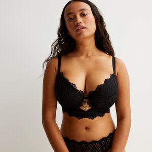 soutien-gorge ampli bustier détail bijou - noir