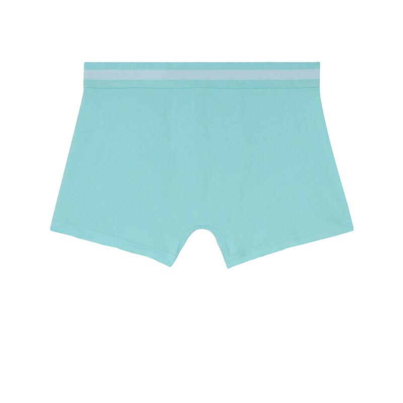 boxer uni en coton - turquoise;