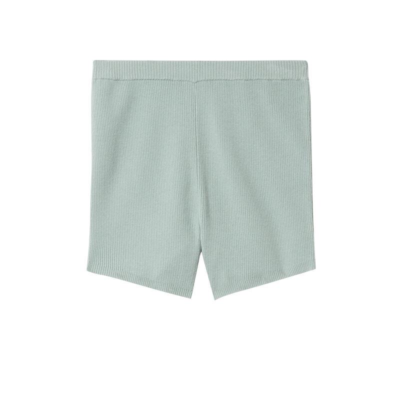 short taille haute en maille - vert d'eau;