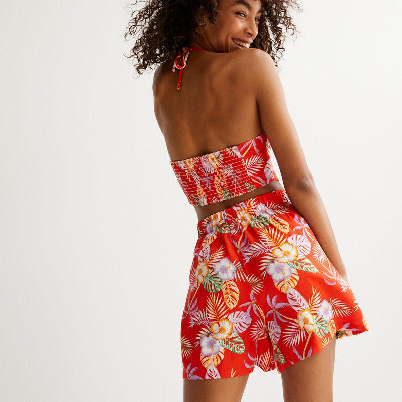 short en satin à motifs fleurs tropicales - rouge;