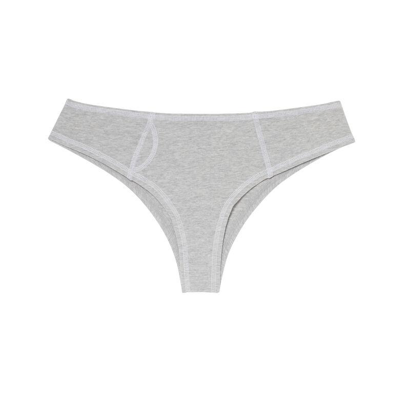 shorty coton coutures blanches apparentes - gris;