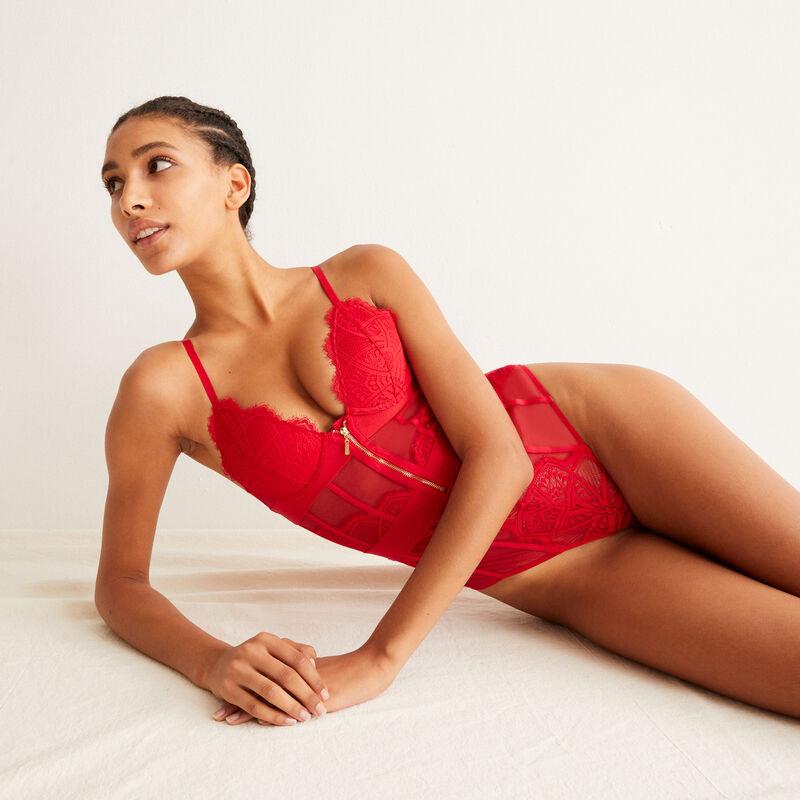 body en dentelle à détail zip - rouge;