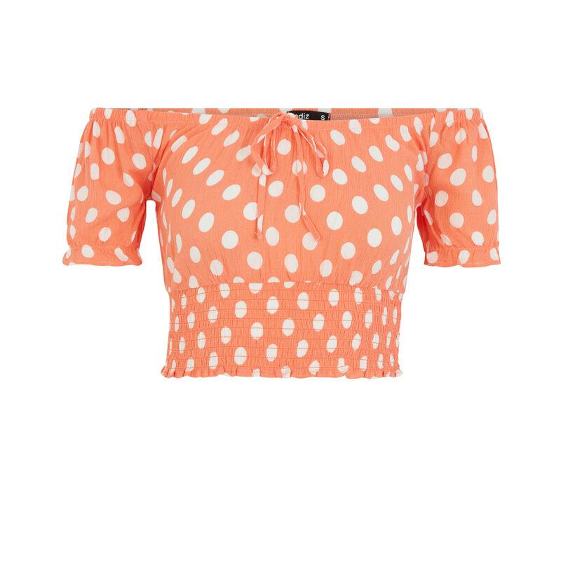Top imprimé pois - orange;