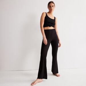 pantalon flare maille pointelle - noir