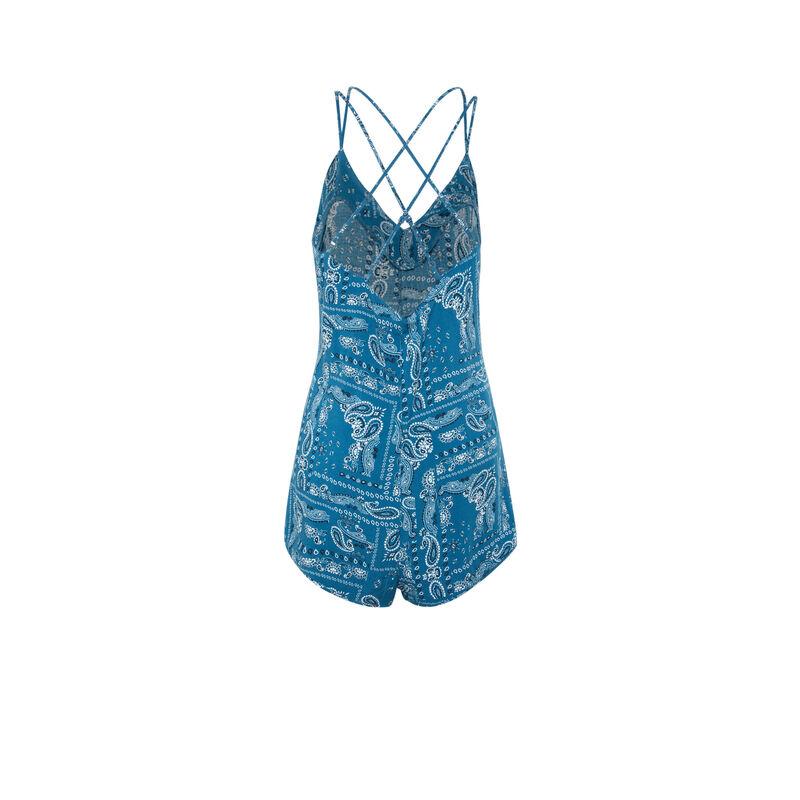 Combishort imprimé bandana - bleu ;