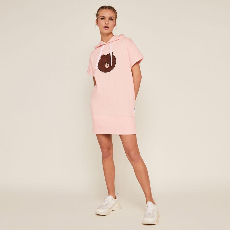 Tunique robe à capuche Line Friends - rose;