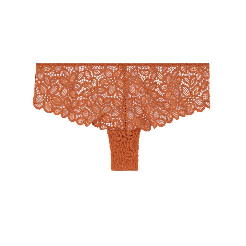 shorty à dentelle fleurie détail anneaux - marron;
