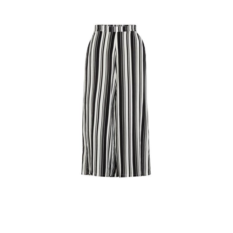 Pantalon large à rayures - noir;
