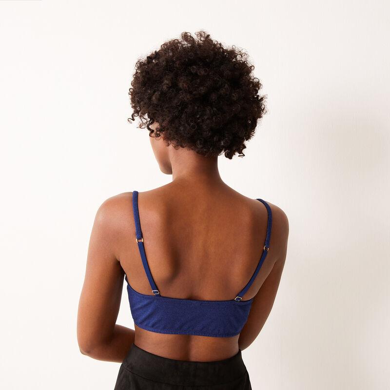 soutien-gorge bustier en denim détail zip - bleu;