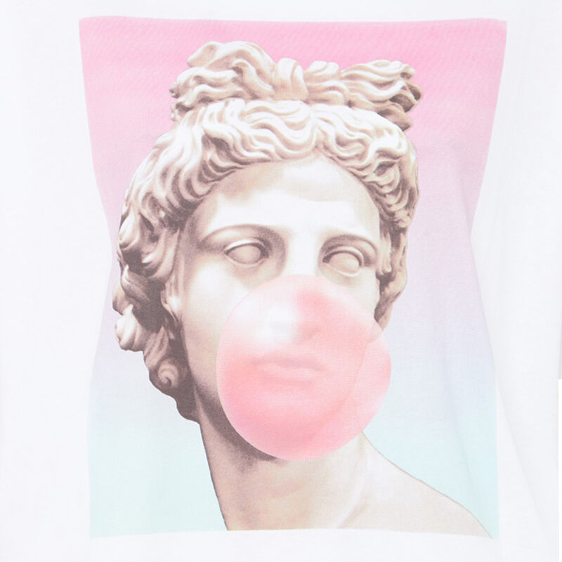 Top imprimé statue - blanc;