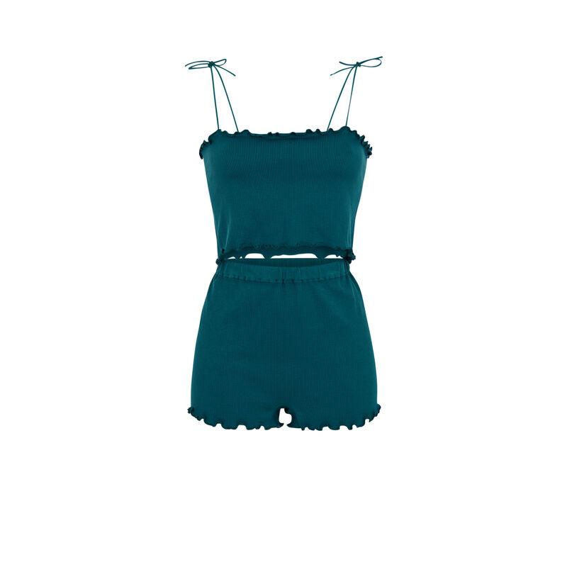 Ensemble top + short - bleu canard;