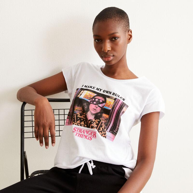 tee shirt print Stranger Things - blanc;