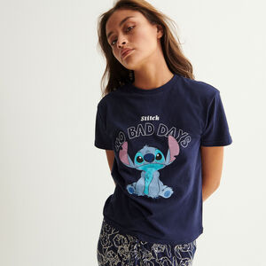 "top ""no bad days"" stitch - bleu marine"