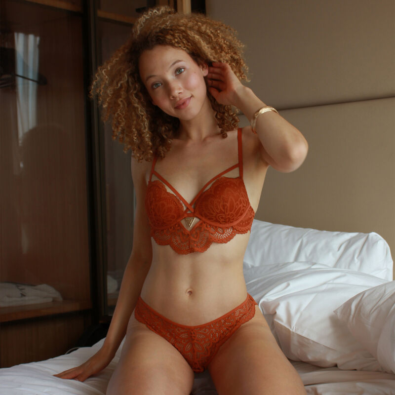 Soutien-gorge push-up détail bijou - marron;