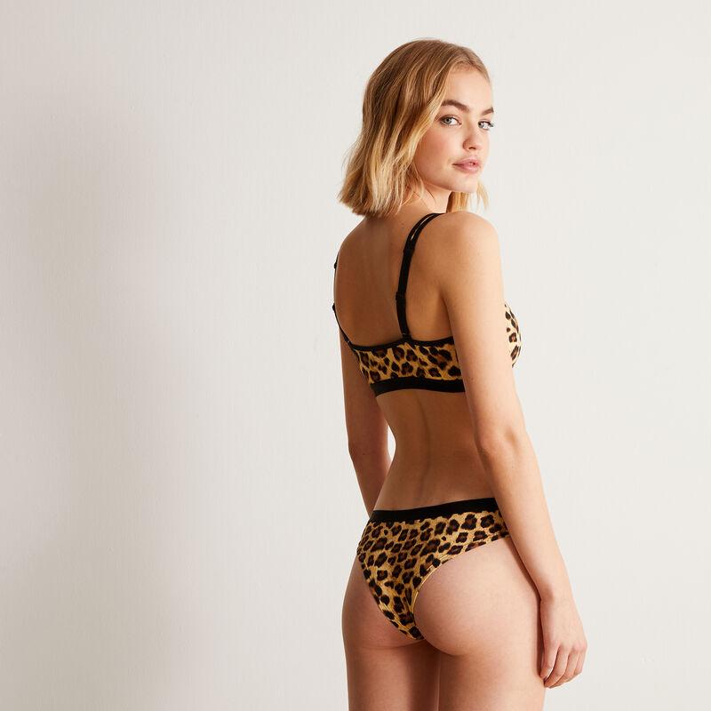 tanga imprimé léopard - noir;