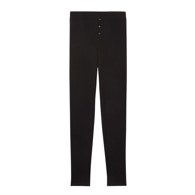 legging côtelé tacheté - noir;
