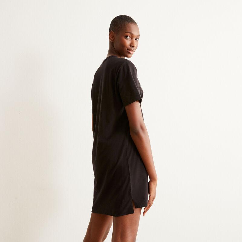 tunique à imprimé minou d'amour - noir;