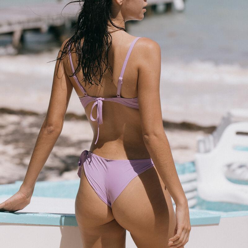 haut de maillot de bain push-up décolleté twisté - lilas;