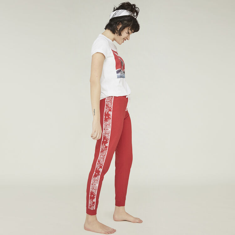 Pantalon rouge sidebandiz red.