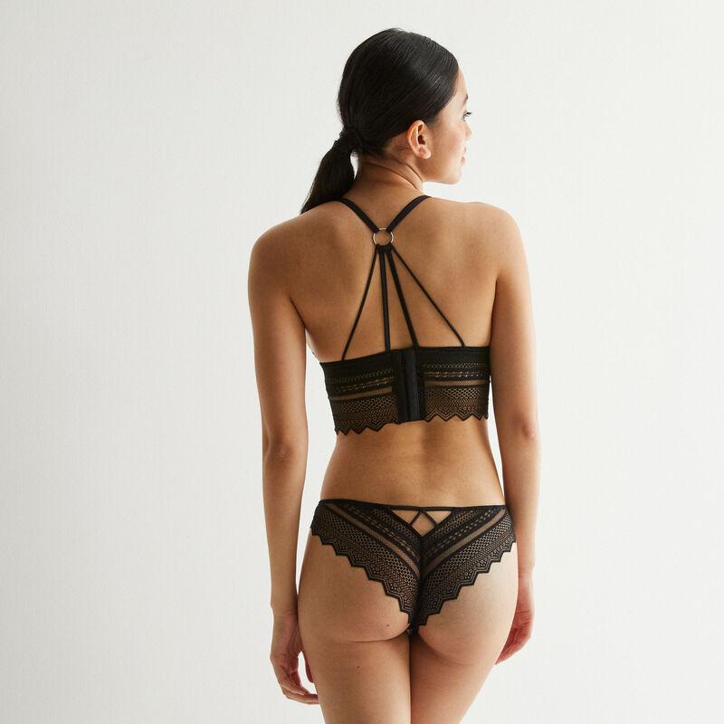soutien-gorge triangle sans armatures détail dos - noir;