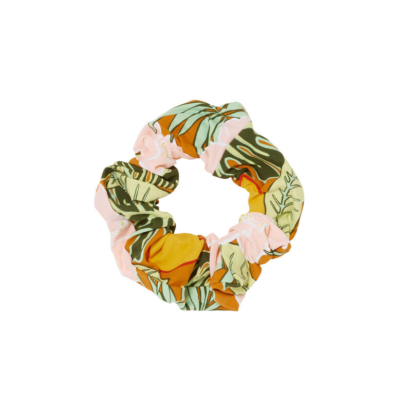 chouchou imprimé tropical - orange;