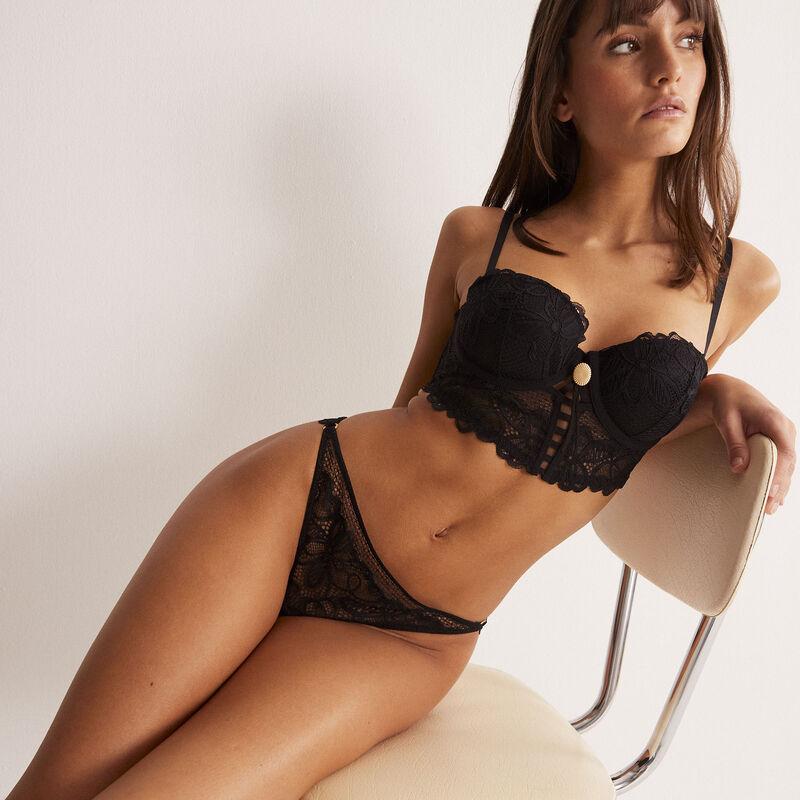culotte en dentelle détail anneaux - noir;