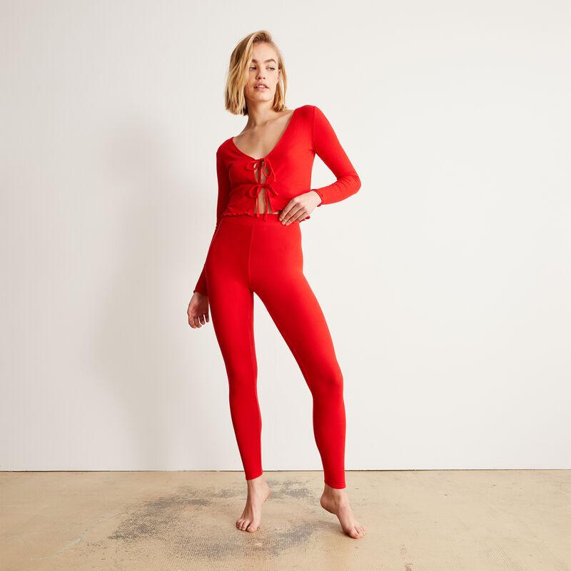 legging uni - rouge;