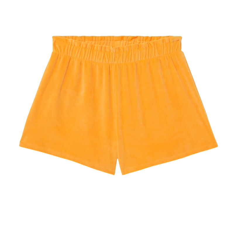 short taille froncée en velours - orange;