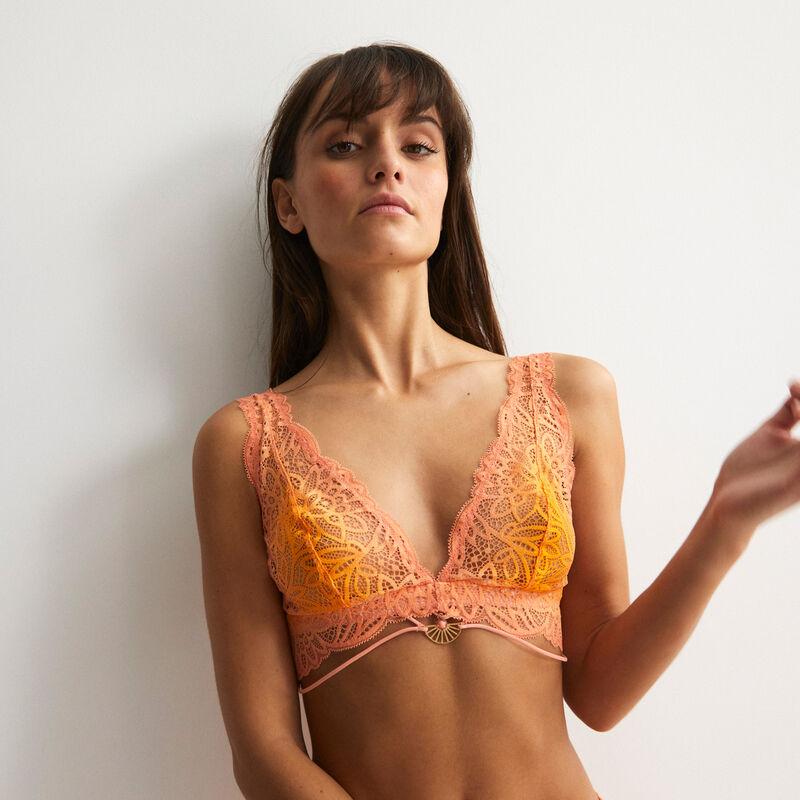 soutien-gorge triangle foulard sans armatures à bijou - mangue;