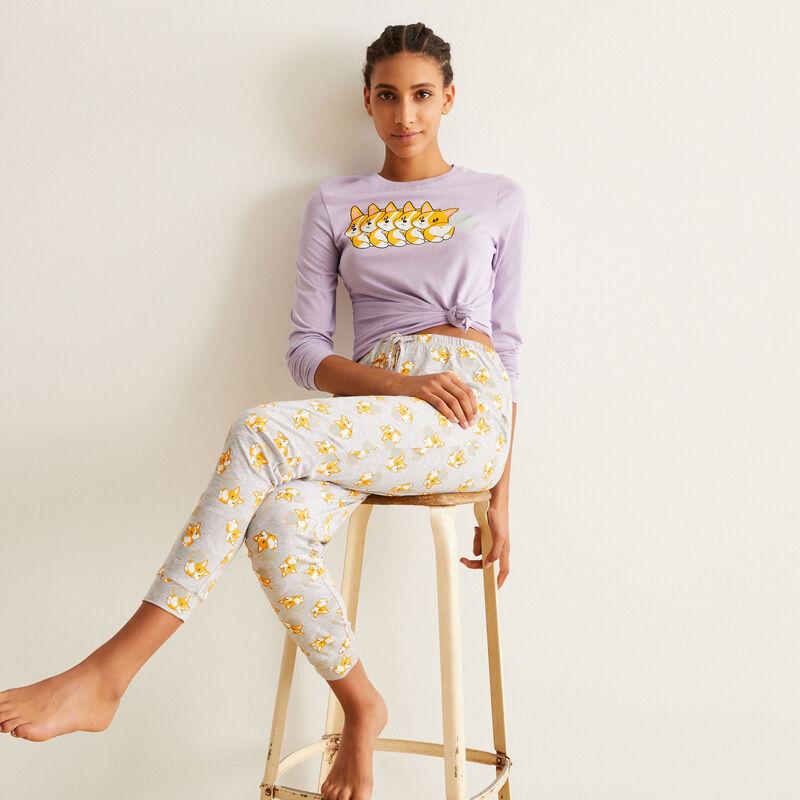 set de pyjama à manches longues motifs corgi - violet;