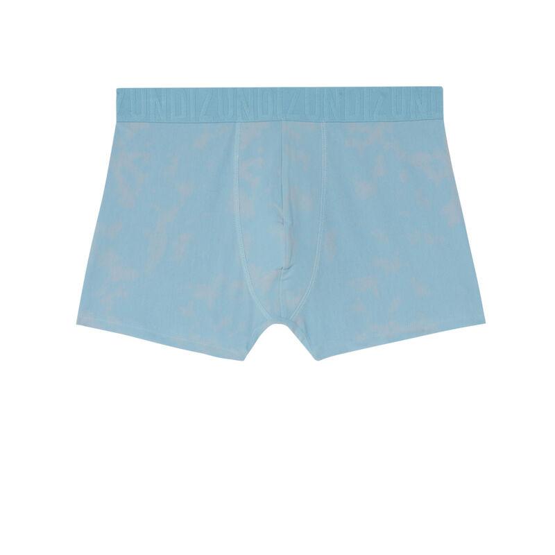 boxer en coton uni - bleu;