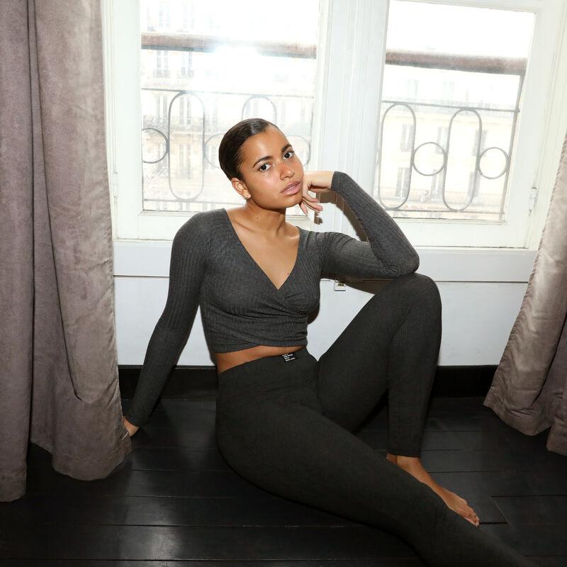 legging comfy à message 100% love - gris foncé;