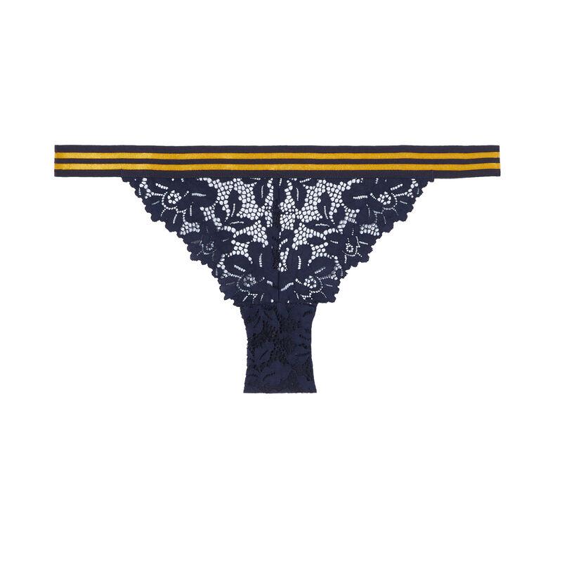 culotte en dentelle et élastique bicolore - bleu;