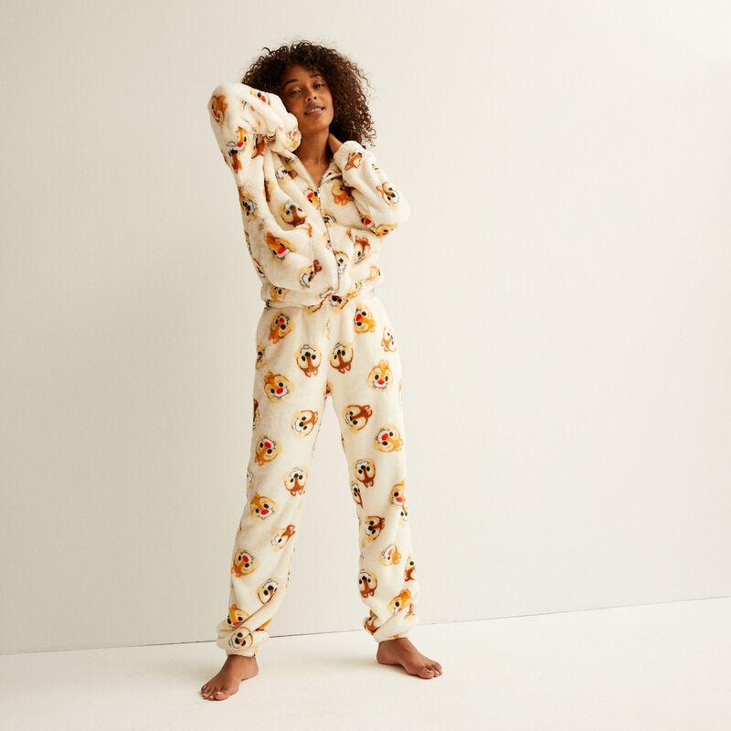 pantalon en polaire à motifs tic et tac - crème;
