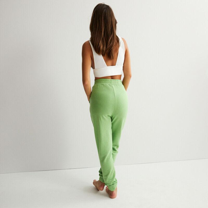 pantalon taille froncée détail couture - vert;