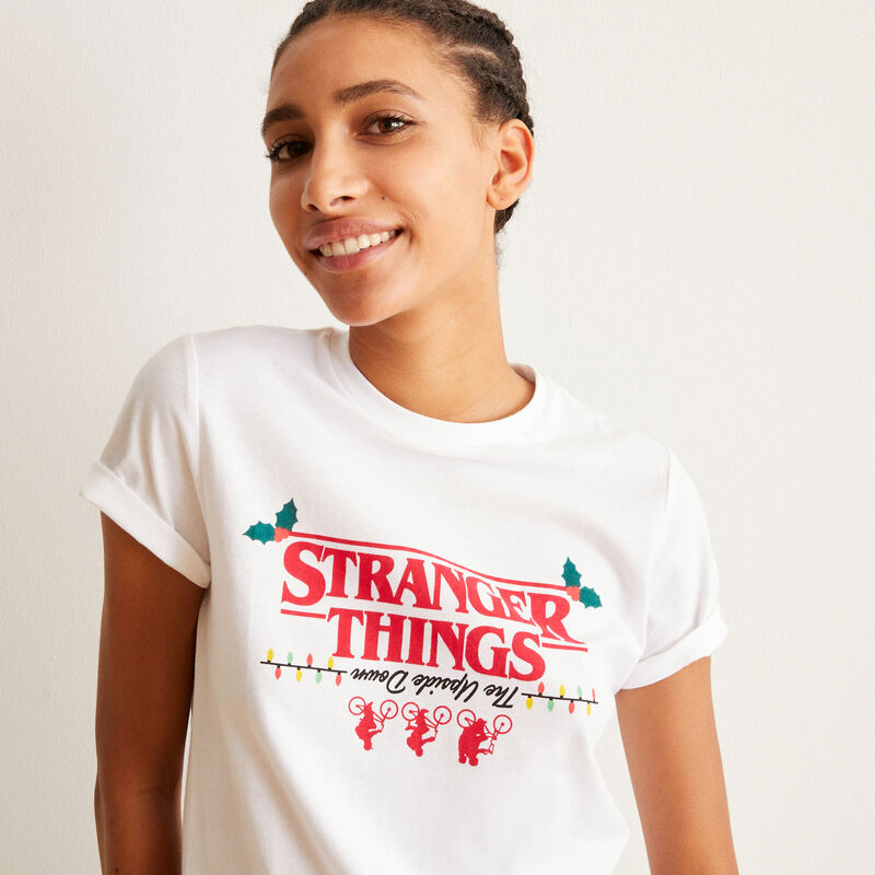 set de pyjama à manches courtes Stranger Things - blanc;