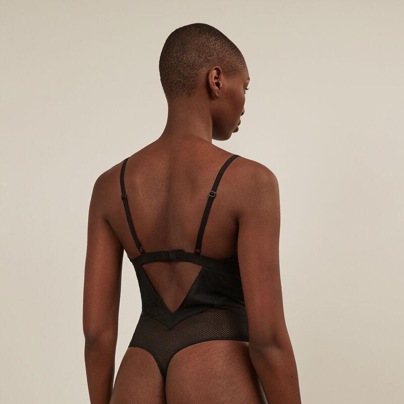 Body sans armatures en résille - noir ;