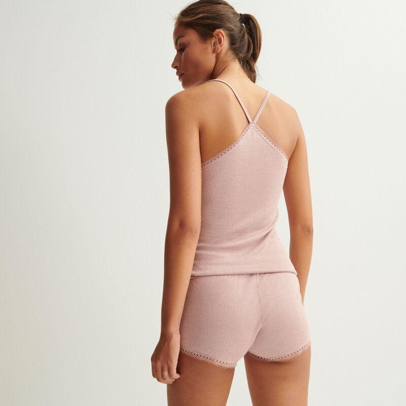 short à paillettes bords en dentelle - rose nude;