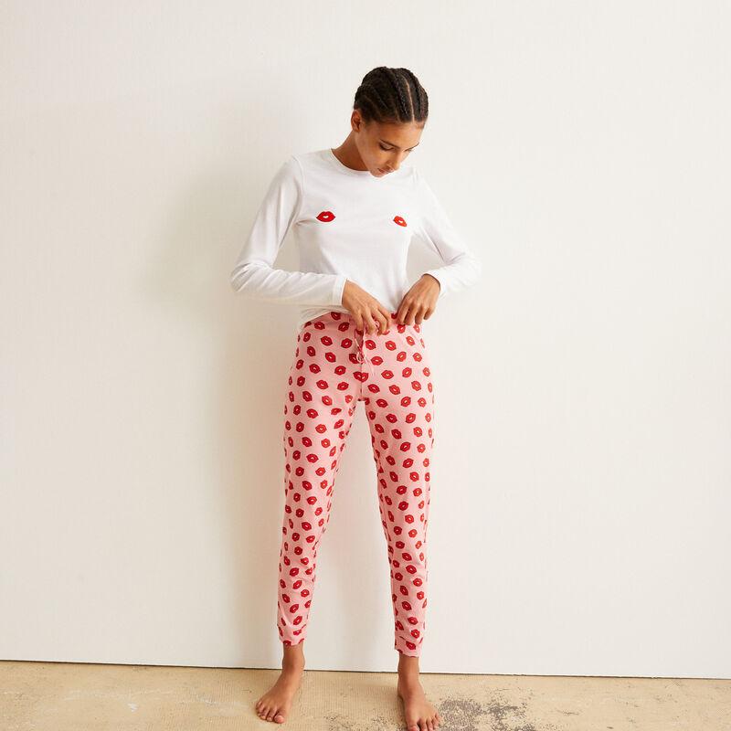 set de pyjama à manches longues bisous - blanc ;